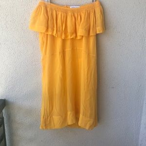 See by Chloé mustard yellow silk ruffle dress